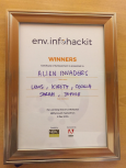 Photo of winners' certificate from env.infohackit 2016/17 Plymouth